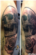 Skull and Rose half sleeve black and grey