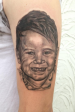 Black and grey portrait of the customers son