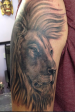 Black and grey Lion portrait tattoo