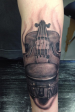 Black and grey Violin tattoo