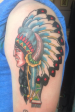 traditional colour indian chief tattoo